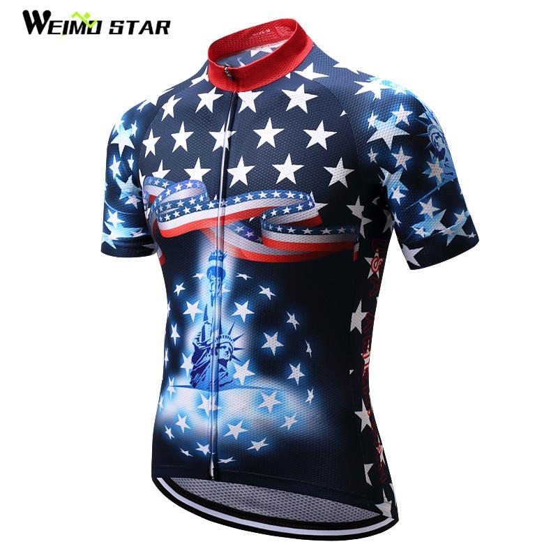 Prix pour 2017 Weimostar Marque USA Bleu Vélo Jersey Hommes vélo vêtements vélo top Ropa Ciclismo maillot VTT jersey Racing Sport chemises