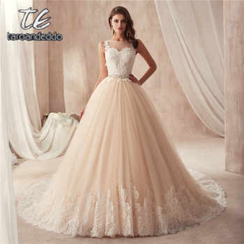 Scoop Neckline Sleeveless Champagne Wedding Dress with Color Beading Belt France Lace Illusion Back Bridal Gown - DISCOUNT ITEM  0% OFF All Category