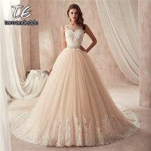 Scoop Đường Viền Cổ Áo Không Tay Champagne Wedding Dress với Màu Sắc Beading Vành Đai Pháp Ren Illusion Lại Bridal Gown