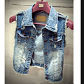 2015 New Fashion Jean Vest Women Vintage Single Breasted Hole Short Jacket Outwear Sleeveless Denim Coat Tops Plus Size PPK699