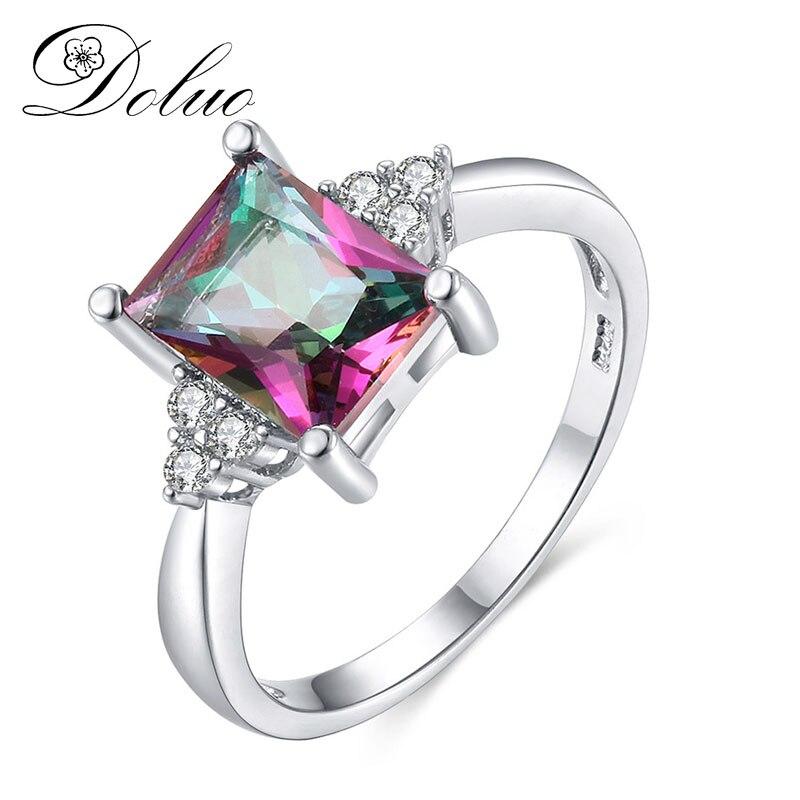 Хит продаж красочные каменное кольцо Европа и США творческая личность инкрустированные rainbow драгоценное кольцо ювелирные изделия