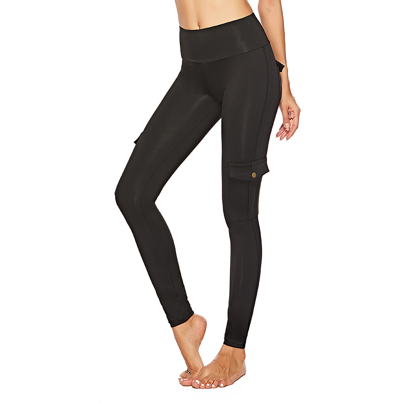 Women's High Waist Pants With Pocket Solid Color Skinny Jeggings Fitness Mujer Legins Workout Patchwork Push Up Women   Leggings
