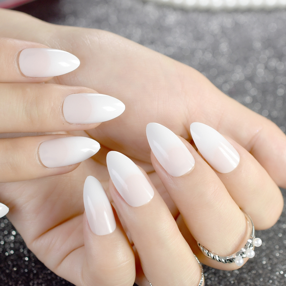 Stiletto Acrylic Nail Tips Grant Natural White Medium Size French Artificial False Nails For Lady Wear With Glue Sticker Z764 In From Beauty