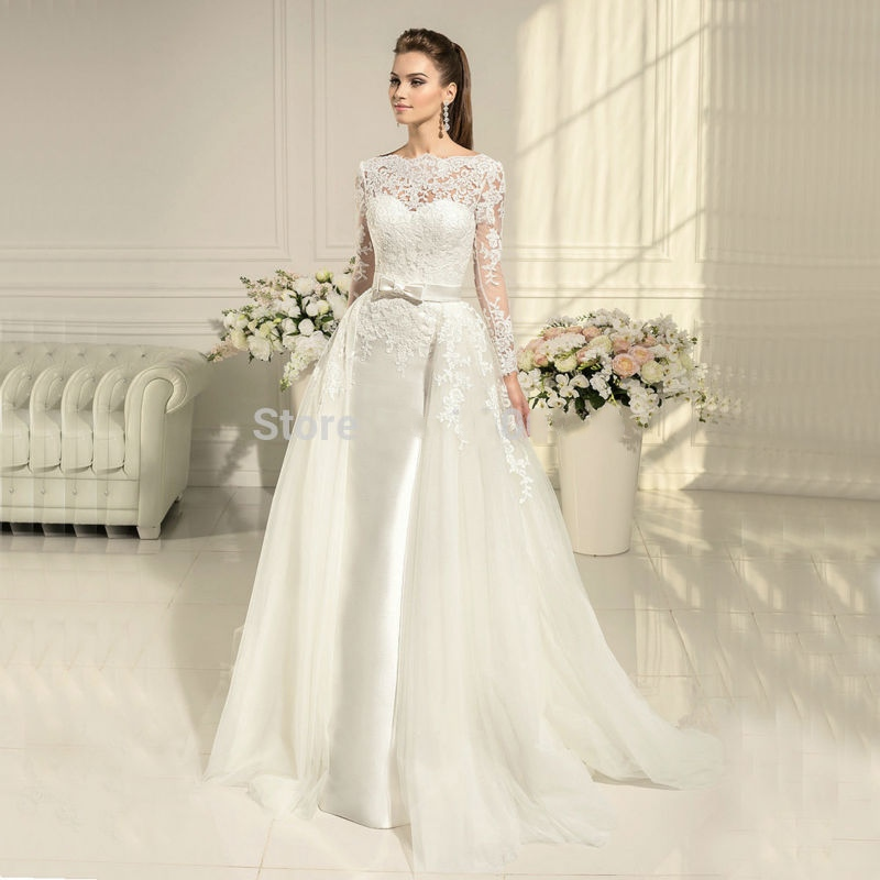 Removable Wedding Gown Dress: Long Sleeve Lace Mermaid Wedding Dresses Detachable Skirt