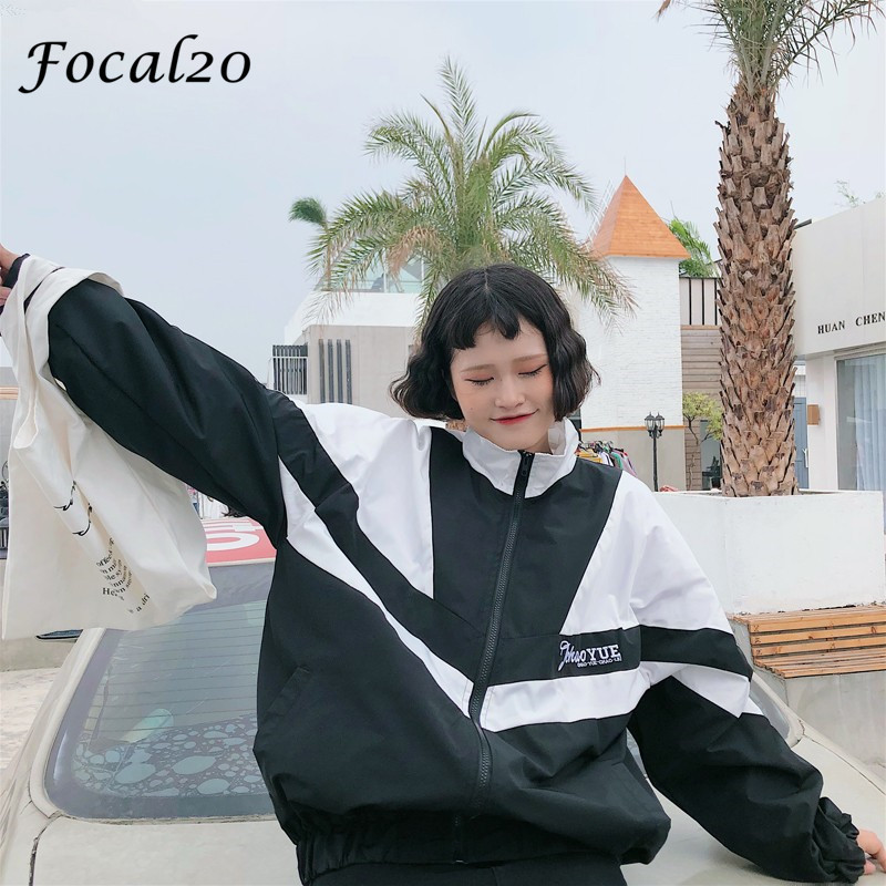 Focal20 Streetwear Hit Color Letter Print Women Jacket Coat Zipper Preppy Spring Autumn Coat Outwear 1
