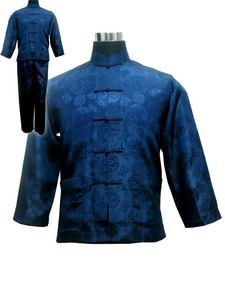 Image 1 - Винтажный темно синий китайский Мужской Атласный пижамный комплект, пижама с длинным рукавом, рубашка и брюки, одежда для сна размера плюс XXXL