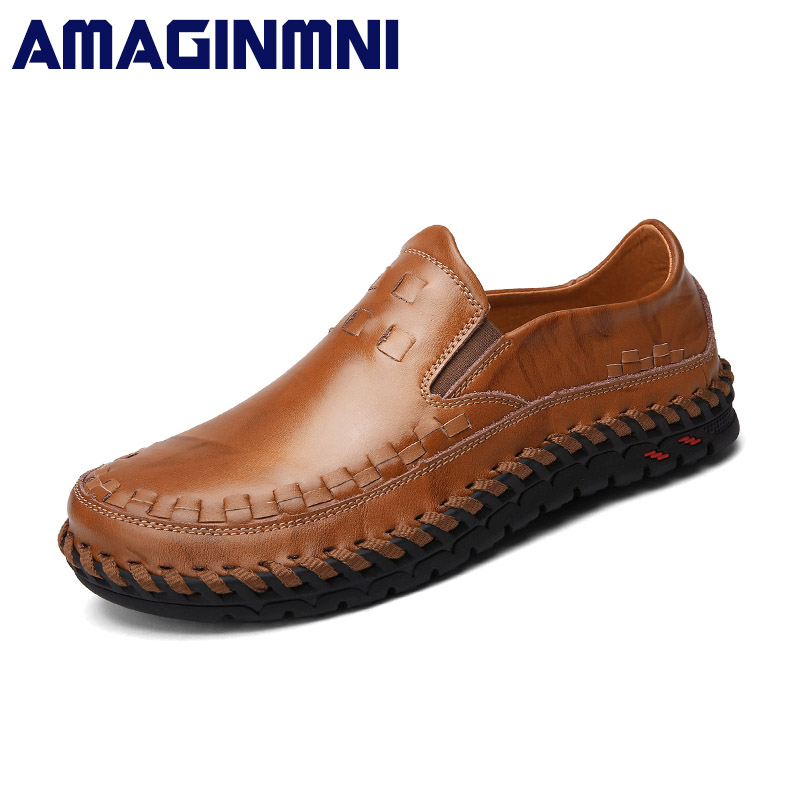 AMAGINMNI New Brand Leather Casual Shoes Fashion Men Shoes Loafers Comfortable Men Leather Shoes Slip On Moccasins Breathable dxkzmcm new men flats cow genuine leather slip on casual shoes men loafers moccasins sapatos men oxfords