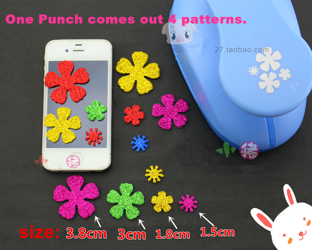 Free Shipping 3 Inch Paper Punch 4 Pieces Of Flower For Eva Foam