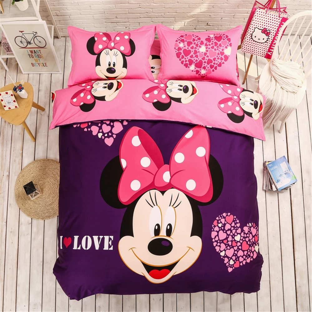 Minnie mouse smeriglitatura comforter bedding set queen size 4/5 pz viola copripiumino ragazze dei capretti arredamento camera da letto adulto regalo di inverno