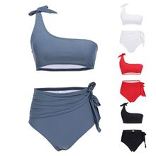 Womens Sexy Two Piece Bikini Set Tie Knot One Shoulder Bandeau Crop Top Solid Color Swimsuit High Waist Pleated Belted Thong Bat