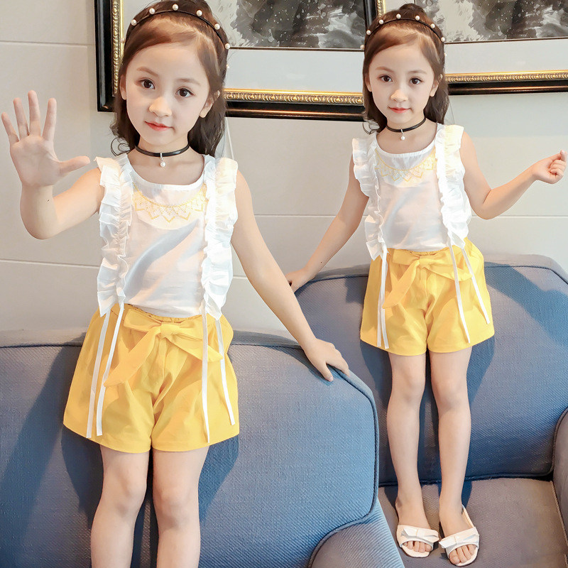 New Summer Children Clothing Wood Ear Stitching Sleeveless T-shirt+High Waist Bow Shorts 2Pcs Suit Girls Clothes Kids Clothes