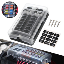 1 Set DC 32V 100A 12 Way Fuse Box Block Holder ATC ATO Blade LED with  Screws&Labels For Car Marine Caravan