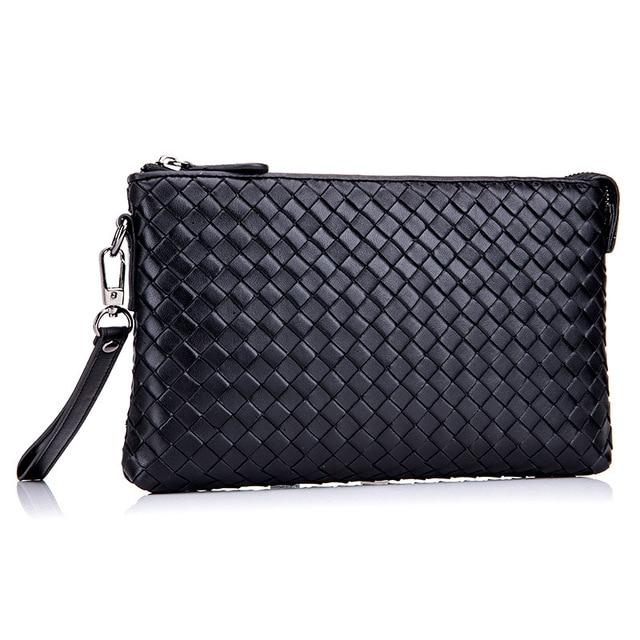 Shengwell Fashion Design Sheepskin Handbag Black Leather Woven Bag Clutch Hand Wrist Envelope Men S
