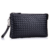 Shengwell Fashion Design Sheepskin handbag Black Leather Woven Bag Clutch Hand bag Wrist Envelope Bag Men's Business Handbags