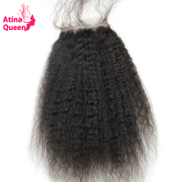 Atina Queen Kinky Straight Closures 4x4 Lace Closure With Baby Hair Italian Coarse Afro Remy Human