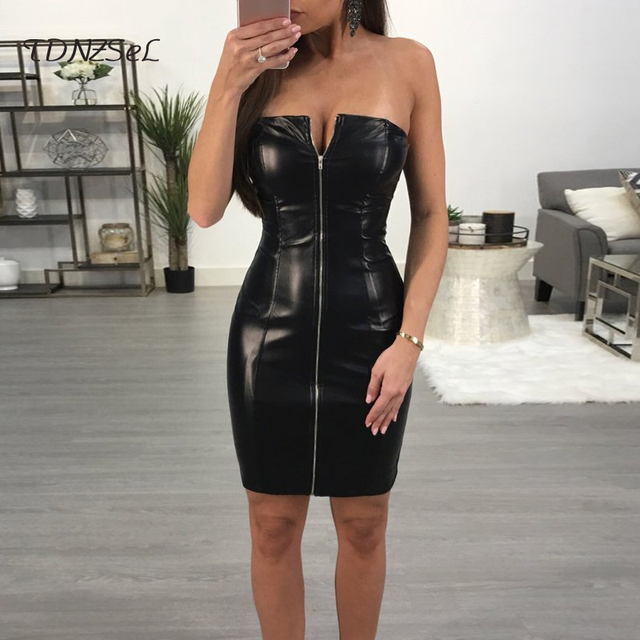 sexy womens dress bright zipper front party