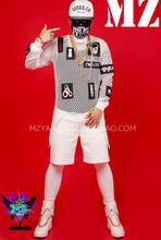 GD BIGBANG Для мужчин белый Нерегулярные чистая Буйтер костюмы Ложные два комплект со штанами летние Для мужчин певцов DJ DS шоу на сцене одежда! S-5XL