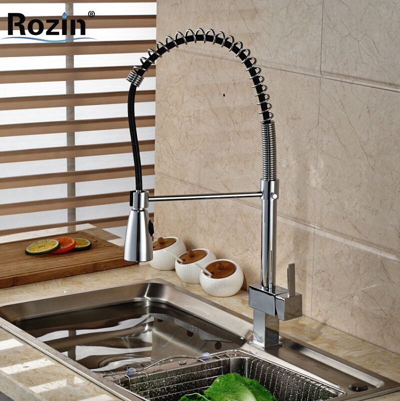 Chrome Finished Kitchen Faucet Swivel Spray Hot Cold Water Tap Basin Sink Faucets Mixers Taps