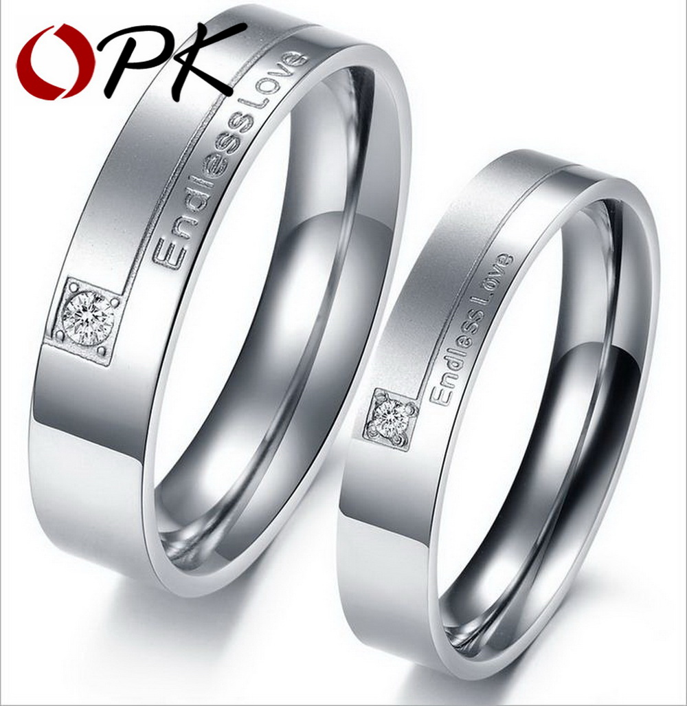 OPK Romantic Endless Love Couple Wedding Rings Pave CZ Promise Engagement Bands Stainless Steel Lover Valentine 's Gift GJ243
