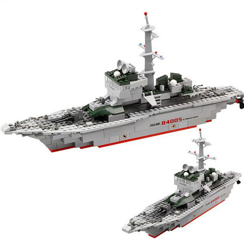 84005 KAZI 228pcs Military Ship Building Bricks Blocks Sets Frigate Model Kids Toys Compatible Lepine Military enlighten building blocks navy frigate ship assembling building blocks military series blocks girls