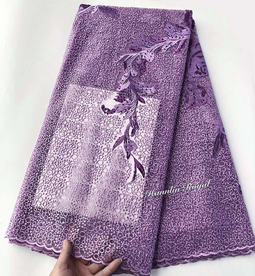 Lilac small rounds embroidery french lace fabric African Buba sewing dress for aso ebi High quality