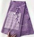 5 ярдов Сиреневый маленький раунд вышивка французское кружево африканский тюль ткань нигерийский швейный случайный платье вечернее платье...