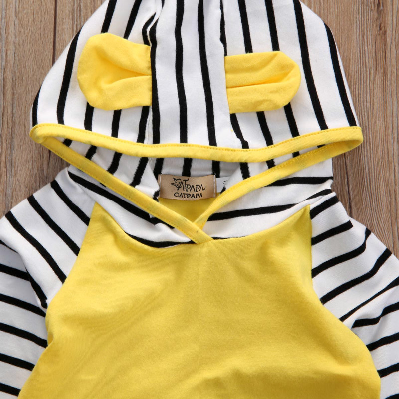 Autumn Newborn Infant Baby Boys Girls Clothes Sets Long Sleeved Hooded Jacket + Striped Pants 2PCS Baby Clothes Suit 0-24 Months 4