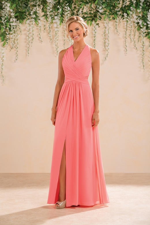 New Arrival Charming Coral Chiffon V Neck Pleated A Line