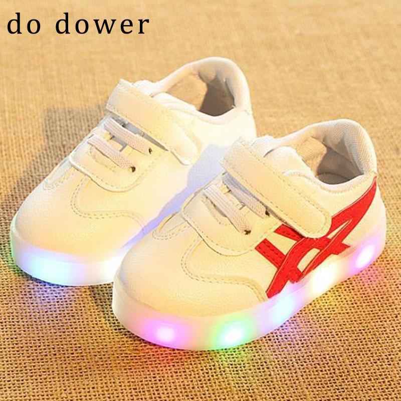 2018 jauni zīmoli bērnu kurpes ar gaismas zēniem Meiteņu čības - Bērnu apavi