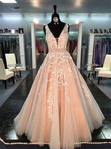 Image 3 - Şık güzel balo kıyafetleri uzun A line V boyun aplike balo elbise abiye boncuk kanat şeftali resmi elbise