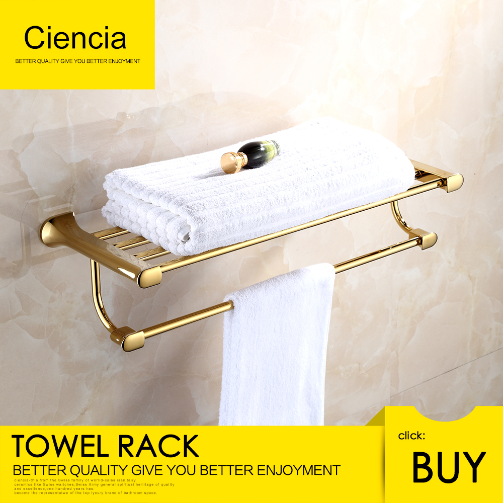 цена на Free Shipping Brass Wall Mounted Double Towel Rails Bars Hanger Bath Towel Rack Shelf Bathroom Accessories