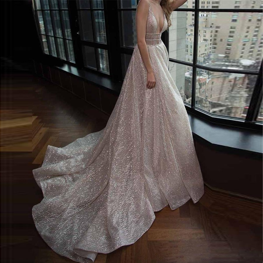 Glitter Sequins Long   Prom     Dresses   Deep V Neck Open Back Elegant Evening   Dress   Sweep Train Chic Formal Party Gowns Robe de soiree