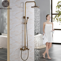 8 Shower Head Wall Mounted Bathroom With Handheld Shower Rainfall Faucet Set Antique Brass Finish