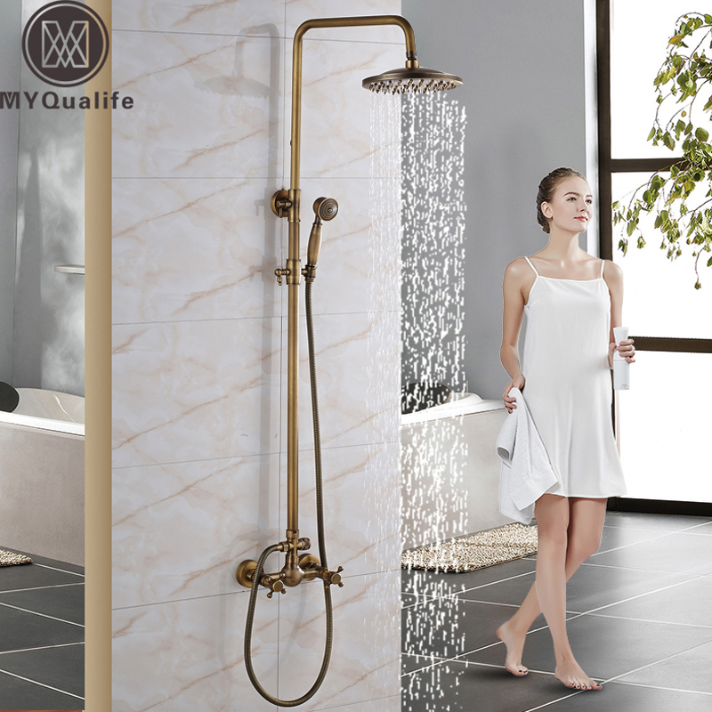Wall Mounted 8 Shower Head Shower Rainfall Faucet Set with Handheld Antique Brass Finish In-wall Shower Mixer Taps 8 inch rainfall bathroom shower faucet set antique brass finish wall mounted single handle mixer tap handheld shower wrs059