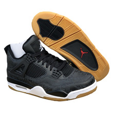 14c7e73c2b4 Laser Jordan Retro 4 Men Basketball Shoes X LES Black Bred White Cement  Kaws grey Singles