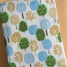 Linen Cotton Printed Fabric Tree Canvas Telas Sewing Cloth For Home Textile Decoration Tablecover