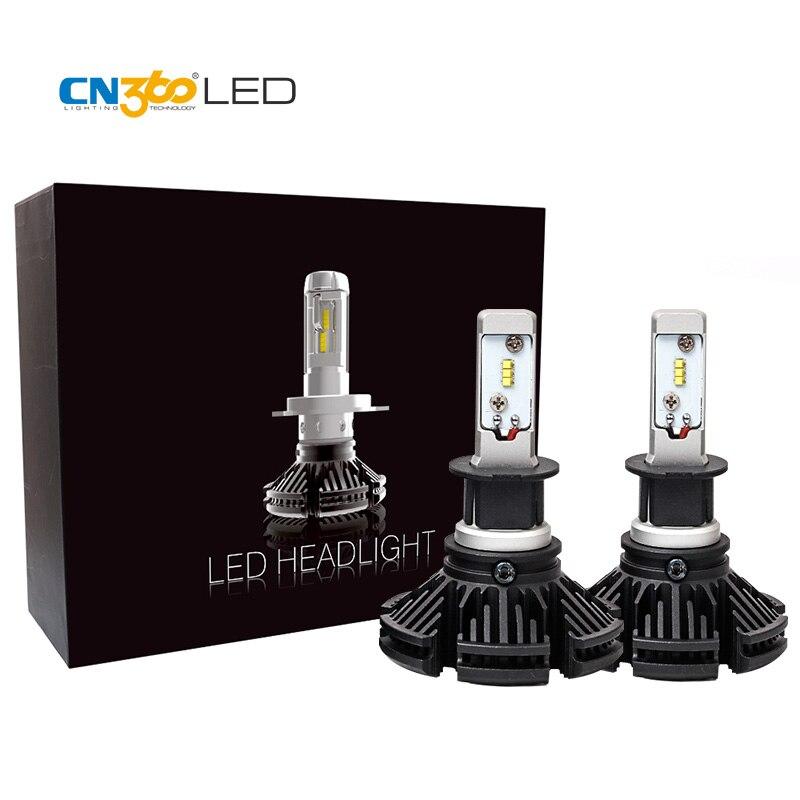 CN360 2 pièces LED H3 LED ampoules de phare de voiture 6000LM phare automobile 12 V 3000 K 6000 K 8000 K avec la Mini Base mince de taille de puce de ZES