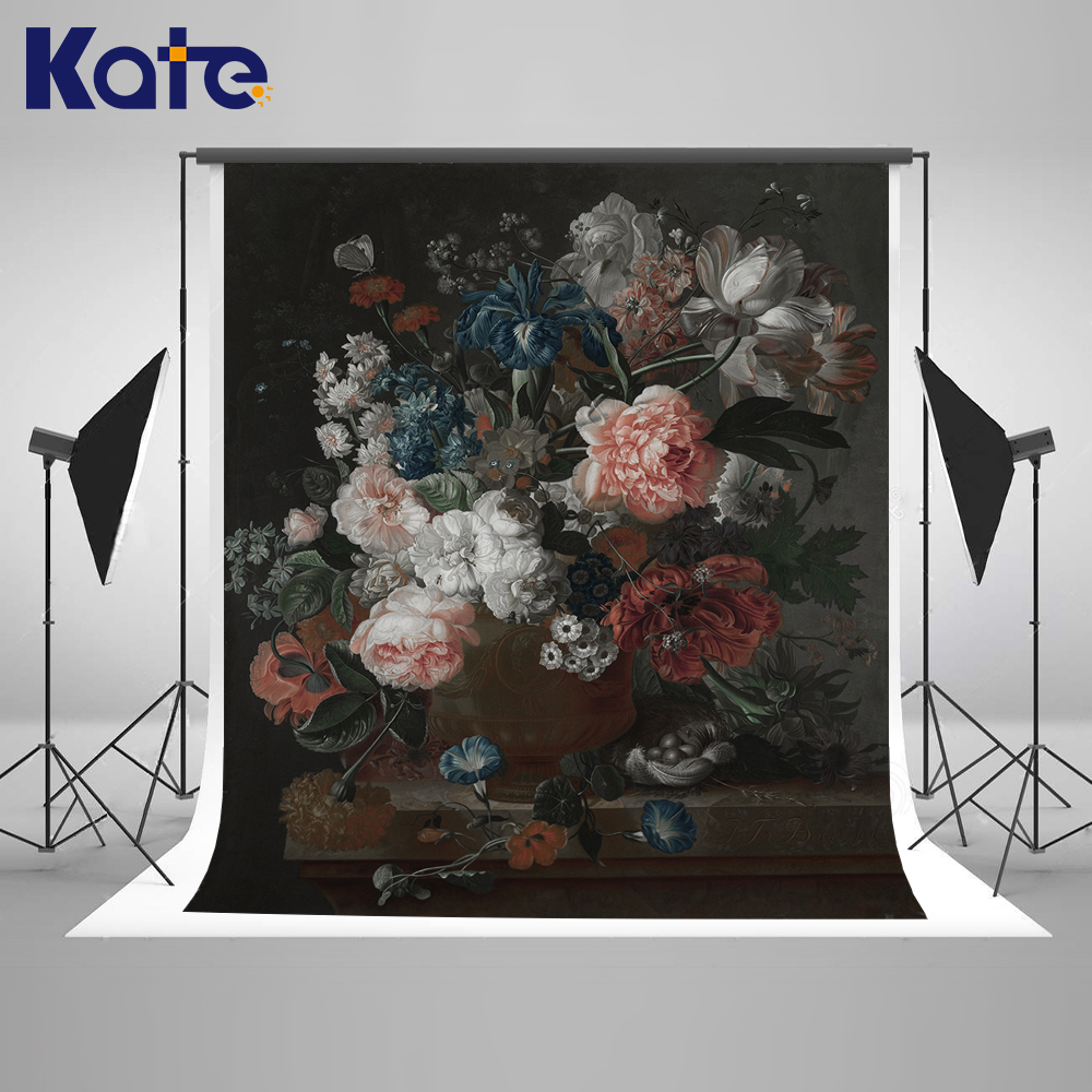 Kate Flower Wall Backdrop Oil Painting Texture Flowers Custom Large Size Seamless Photo for Photos studio shoot wholesale seamless wedding wall nail strengthen invisible traceless photo hanging hook painting