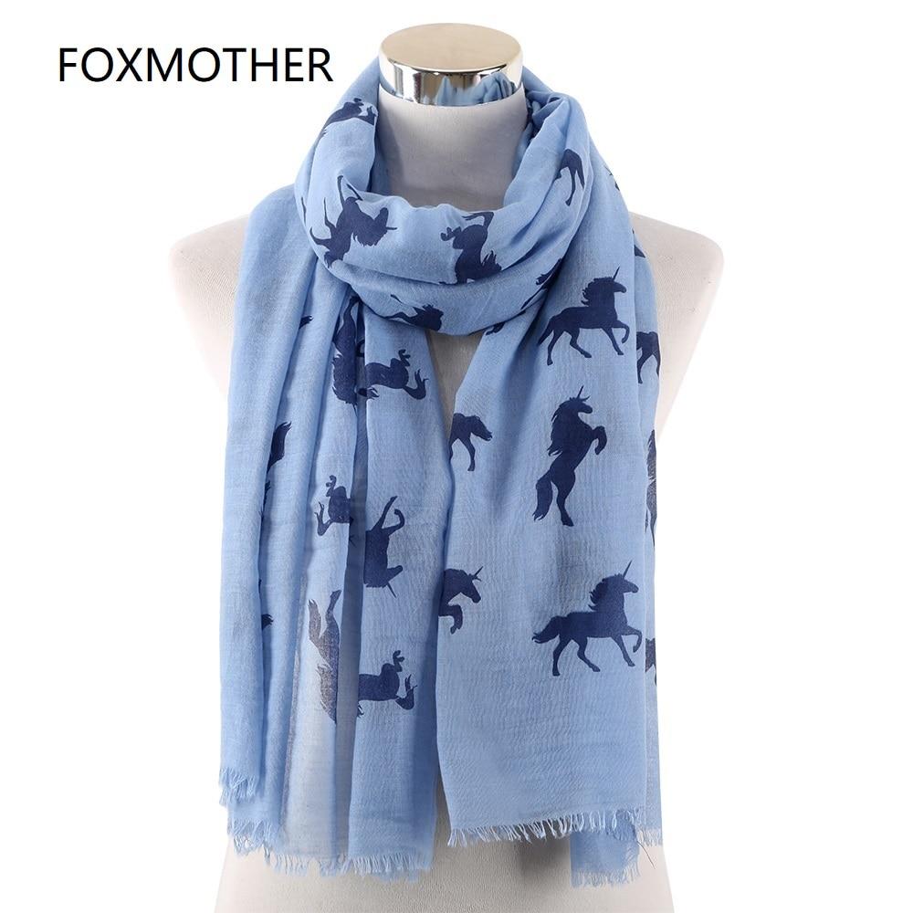 FOXMOTHER New Women Unicorn   Scarf   Shawl   Wrap   Blue White Horse Animal Printed Beach Scarfs Ladies Gifts Fashion 2019