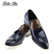 2017 Autumn New Genuine Leather Slip On Men Formal Shoes With Tassel Pointed Toe Wedding Party Dress Blue Footwear Men's Shoes