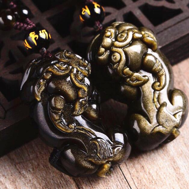 Handcrafted Golden Obsidian Fengshui Pixiu Necklace Good Luck Piyao Beaded Necklace Wealth Pixiu Necklace Lucky Fengshui Animal
