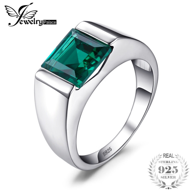 JewelryPalace Men's Square 2.2ct Green Created Emerald Engagement Ring 925 Sterl