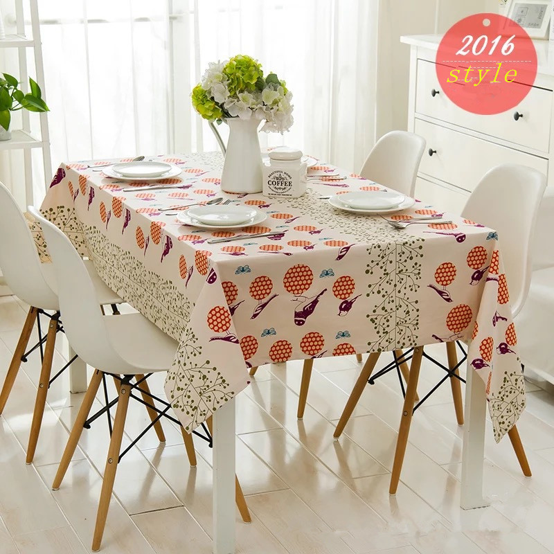 Hot Sale Flowers And Birds Pastoral Table Cloth Hotel Restaurant Tablecloth Coffee Table Desk Home Party