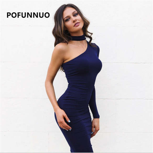 dfec630830a Pofunuo Women One Shoulder Choker Dress Black Sexy Long Sleeve Elastic  Bodycon Party Dress Elegant Ladies vestidos