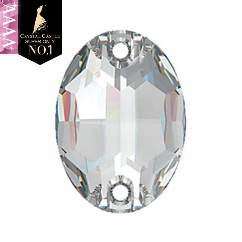 Cristal Castillo cristal coser en diamantes de imitación 4A 3210 cristal ovalado AB piedra para coser Diy Rhinestones