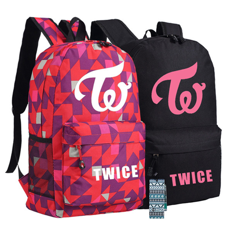 Twice Printed Star Fans Backpacks Unisex Canvas Student Book Shoulder Bags Xmas Gift super star 1 student s book [with audio cd x2 ]