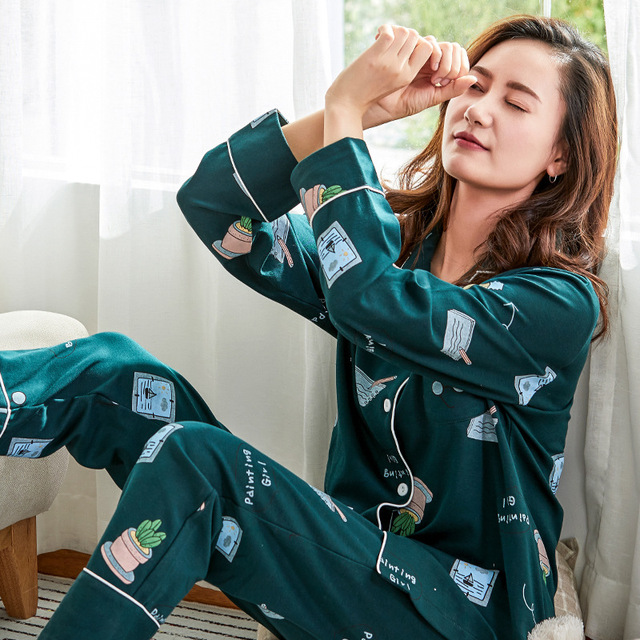 80040a8944 New Arrival women pajamas Harajuku Cotton pajamas women night sleepwear  shirt+pants 2 pieces set