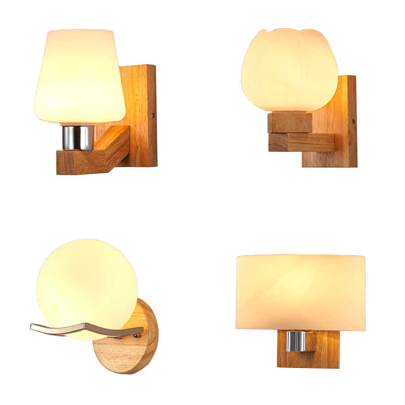 Modern Indoor Wood Wall Lamp Nordic Glass Bedside Design Wandlamp Corridor Stairs Decorative Led Sconce Wall Lights Fixtures E27 Led Indoor Wall Lamps Aliexpress