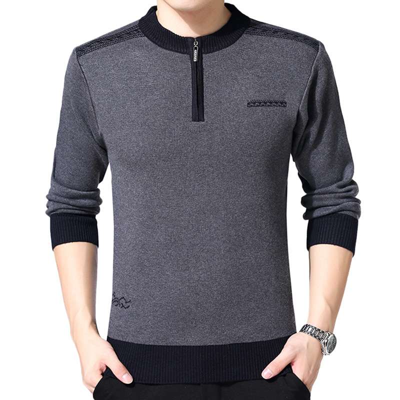 Autumn Winter Fashion Mens Sweaters Zipper O-neck Thick Warm Casual Wool Sweater Slim Fit Knitted Cashmere Pullover Tops Male