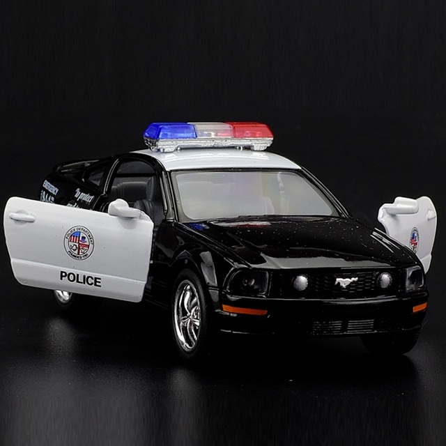 High Simulation Exquisitecaststoy Vehicles Kinsmart Car Styling  Ford Mustang Gt Police Ccar